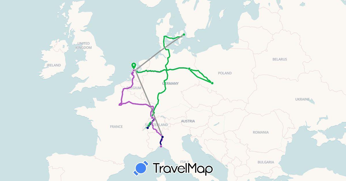 TravelMap itinerary: driving, bus, plane, train in Switzerland, Germany, Denmark, Italy, Netherlands, Poland (Europe)